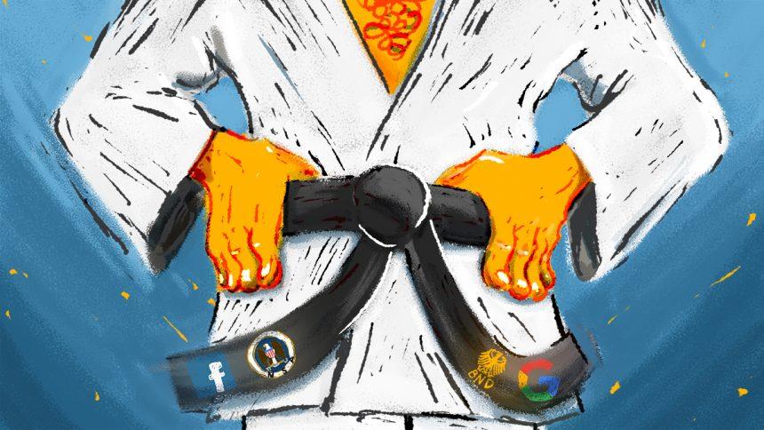 Bei digitaler Selbstverteidigung ist vom gelben bis zum schwarzen Gürtel alles möglich. Designer Oliver Hinzmann hat das für uns fantastisch illustriert. CC-BY-SA 4.0 Oliver Hinzmann